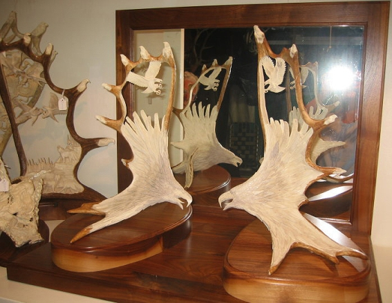 Eagles on rare antler set with matching drop tines