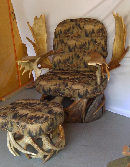 Tapestry Upholstered Chair and Footstool by Bill Steckman