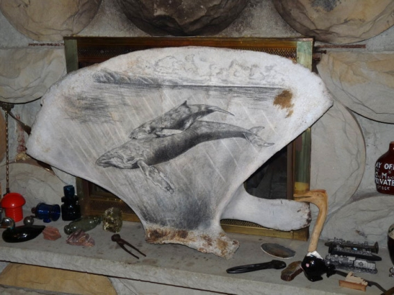 Scrimshaw on Whale Scapula, artist unknown
