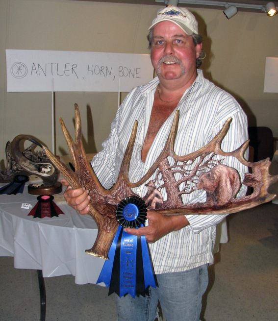 First Place, Coloured Antler - 'Grizzly and Miner' by Rob Baumann