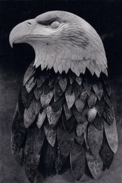 'Bald Eagle' (carved and assembled moose antler) by Maureen Morris