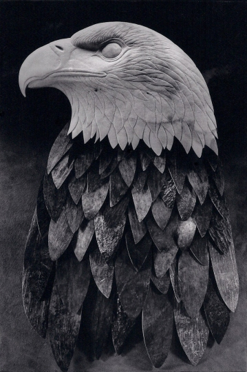 'Bald Eagle' (carved and assembled moose antler) by Maureen Morris
