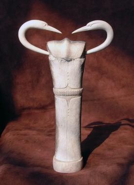 'Belted-Bone Birds' (carved antler and bone, assembled) by Maureen Morris