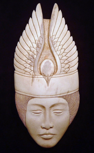 'Bird Hat' (carved moose antler) by Maureen Morris
