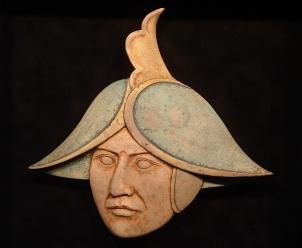 'Asian Helmet' (carved and coloured moose antler) Maureen Morris