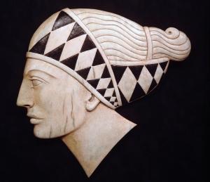 'Diamond Patterned Headband' (carved and coloured moose antler) Maureen Morris