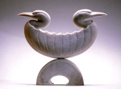 'Double-Shelled Bird, Outward Facing' (carved and assembled moose antler) by Maureen Morris