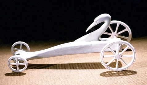 'Drag Racer Bird' (carved and assembled moose antler and bone) by Maureen Morris