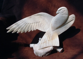 'Falcon with Wing Outstretched' (carved moose antler) by Maureen Morris