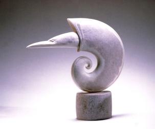 'Hermit Shell Bird' (carved moose antler) by Maureen Morris