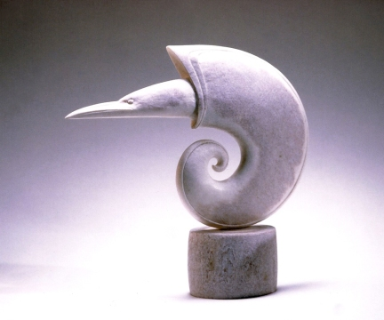 'Hermit Shell Bird' (carved moose antler) by Maureen Morris