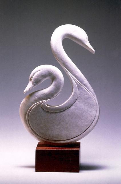 'Swans' (carved moose antler) by Maureen Morris