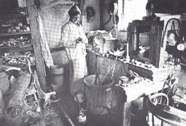 Maureen Morris in her jade and antler carving studio.