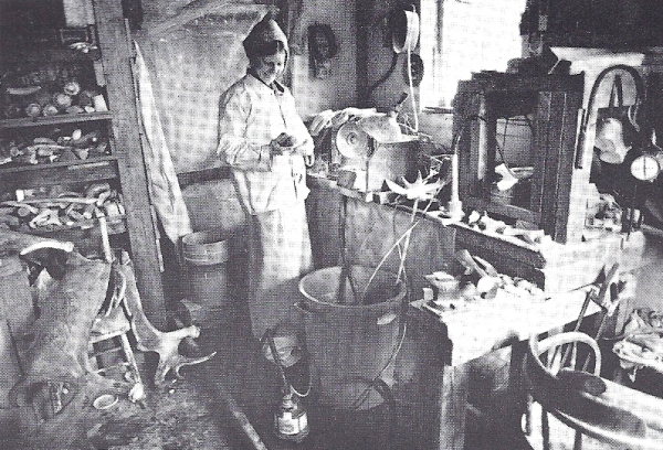 Maureen Morris in her jade and antler carving studio.