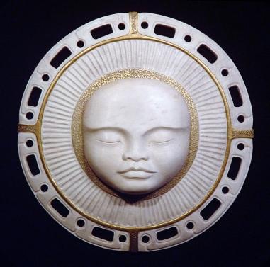 'Moon-Child' (carved and assembled antler, gold leaf) by Maureen Morris