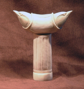 'Nuthatches on Pillar' (carved and assembled moose antler) by Maureen Morris