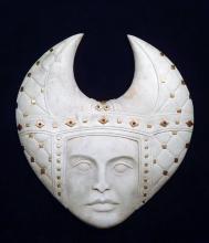 'Padded Headdress' (carved antler and gold leaf) by Maureen-Morris