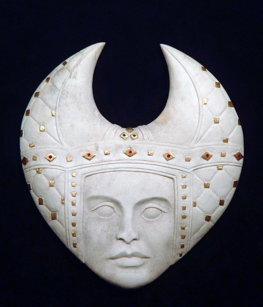 'Padded Headdress' (carved antler and gold leaf and paint) by Maureen-Morris