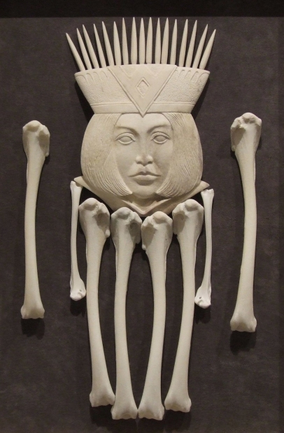 'Queen of Bones' (carved moose antler assemblage) by Maureen Morris