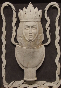 'Queen of Cups' (carved moose antler assemblage) by Maureen Morris