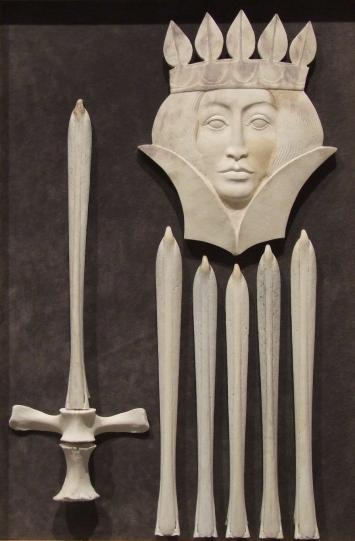 'Queen of Swords' (carved moose antler assemblage) by Maureen Morris
