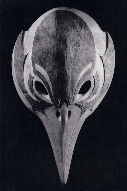 'Raven Mask' (carved moose antler) by Maureen Morris