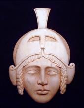 'Roman Helmet' (carved and coloured moose antler) by Maureen Morris