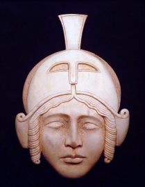 'Roman Helmet' (carved and coloured moose antler) by Maureen Morris