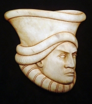 'Saddledome Hat' (carved and stained moose antler) by Maureen Morris