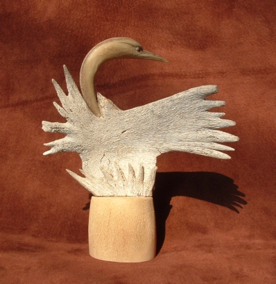 'Star Burst Bone Bird' (carved and assembled moose antler) by Maureen Morris
