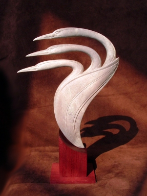 'Three Birds in a Pod' (carved antler) by Maureen Morris