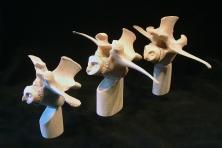 'Three Vertebrae Owls' (carved antler and bone) by Maureen Morris