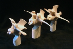 'Three Vertebrae Owls' (carved antler and bone) by Maureen Morris
