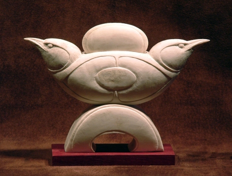 'Two Chickadees with Disk' (carved and assembled moose antler) by Maureen Morris