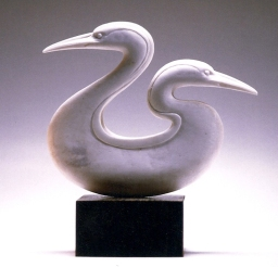 'Two Loons' (carved moose antler) by Maureen Morris