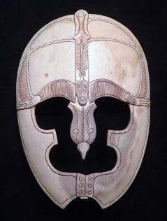 'Visored Helmet' (carved moose antler) by Maureen Morris