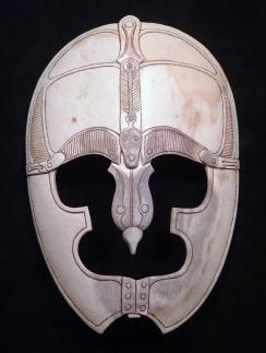 'Visored Helmet' (carved moose antler) by Maureen Morris
