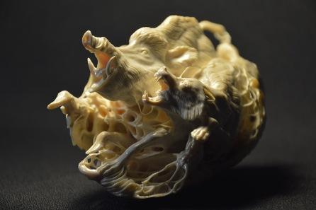 Boar and Wolf (mammoth tusk) by Dmitry Gorodetsky