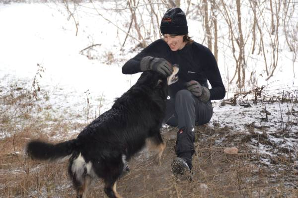 Dmitry Gorodetsky and his dog.