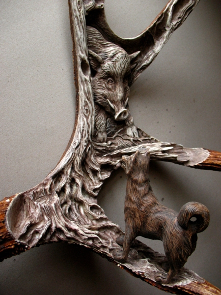 'Wild Boar and Laika - 1' by Dmitry Gorodetsky (carved and stained moose antler and wood)