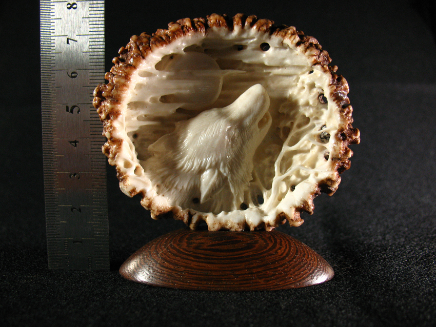 Howling Wolf' by Dmitry Gorodetsky (carved deer antler - 7cm x 4.5cm)