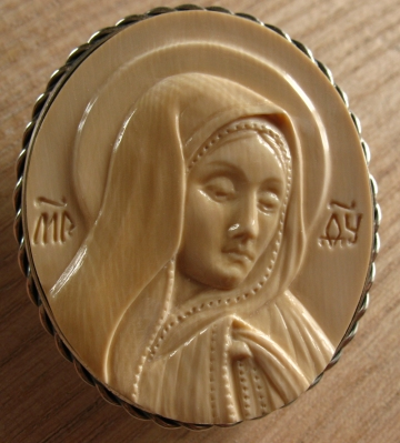 'Virgin Mary' by Dmitry Gorodetsky (carved mammoth tusk - 4.5cm x 6cm)